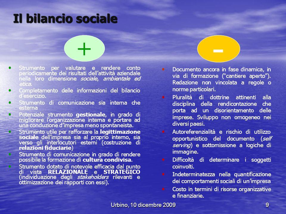 Urbino, 10 dicembre 20099 + Il bilancio sociale Strumento per valutare e rendere conto periodicamente dei risultati dellattività aziendale nella loro