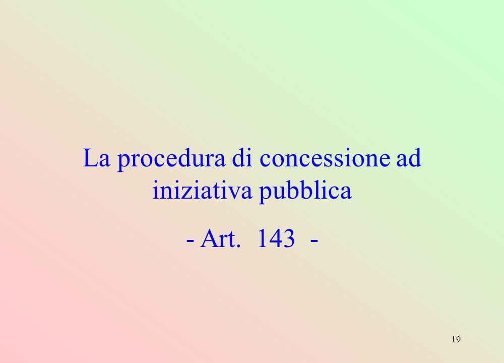 19 La procedura di concessione ad iniziativa pubblica - Art. 143 -