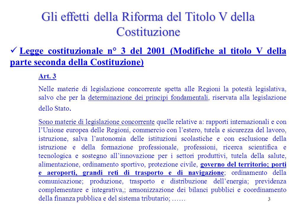 3 Gli effetti della Riforma del Titolo V della Costituzione Legge costituzionale n° 3 del 2001 (Modifiche al titolo V della parte seconda della Costituzione) Art.