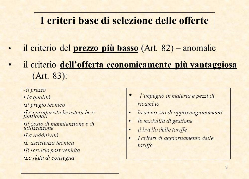 8 I criteri base di selezione delle offerte il criterio del prezzo più basso (Art.