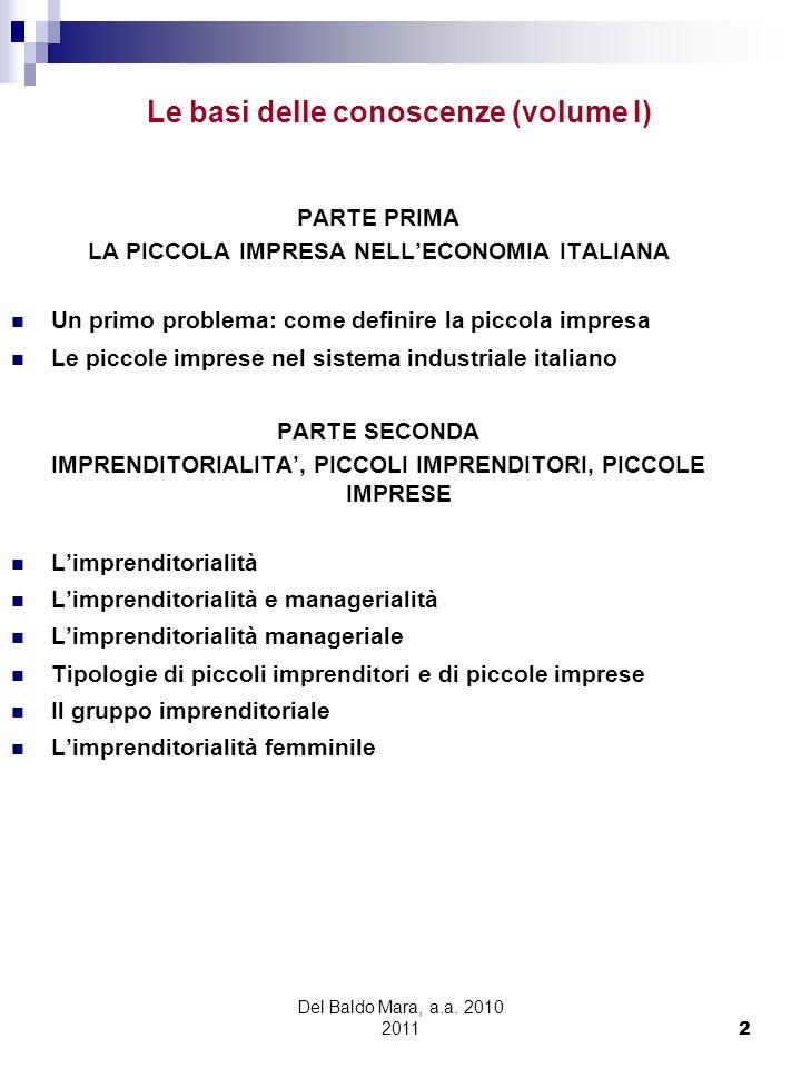 Del Baldo Mara, a.a. 2010 2011 2 Le basi delle conoscenze (volume I) PARTE PRIMA LA PICCOLA IMPRESA NELLECONOMIA ITALIANA Un primo problema: come defi