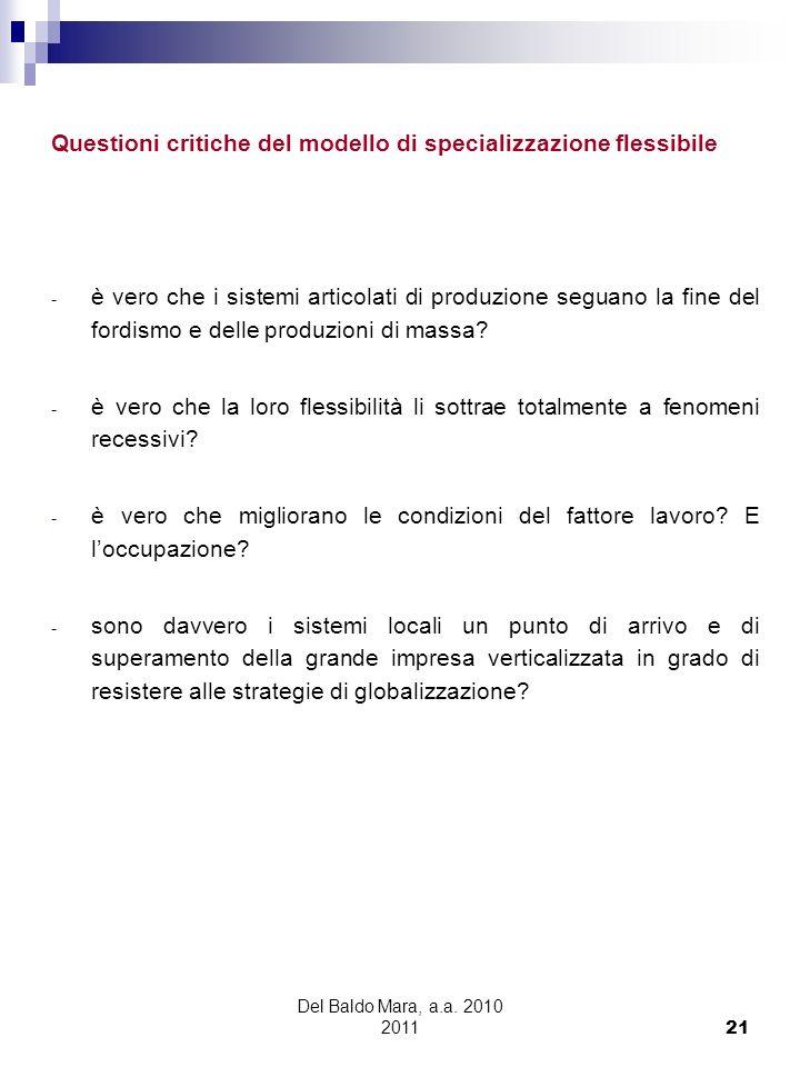 Del Baldo Mara, a.a. 2010 2011 21 Questioni critiche del modello di specializzazione flessibile - è vero che i sistemi articolati di produzione seguan