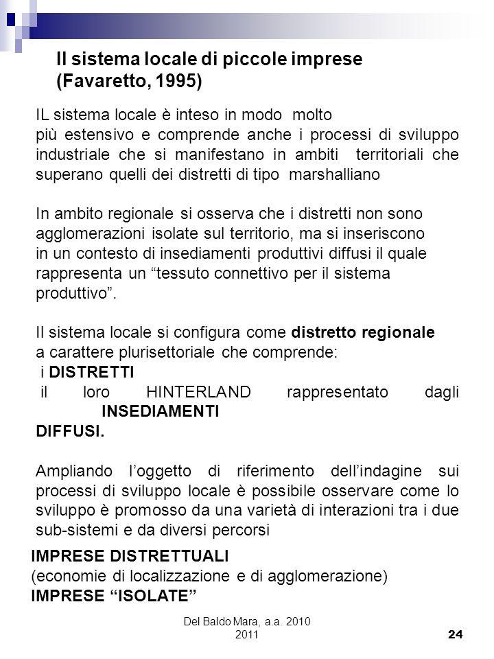 Del Baldo Mara, a.a. 2010 2011 24 Il sistema locale di piccole imprese (Favaretto, 1995) IL sistema locale è inteso in modo molto più estensivo e comp