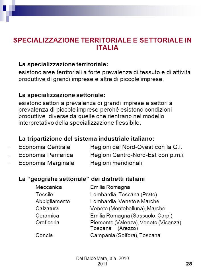 Del Baldo Mara, a.a. 2010 2011 28 SPECIALIZZAZIONE TERRITORIALE E SETTORIALE IN ITALIA La specializzazione territoriale: esistono aree territoriali a