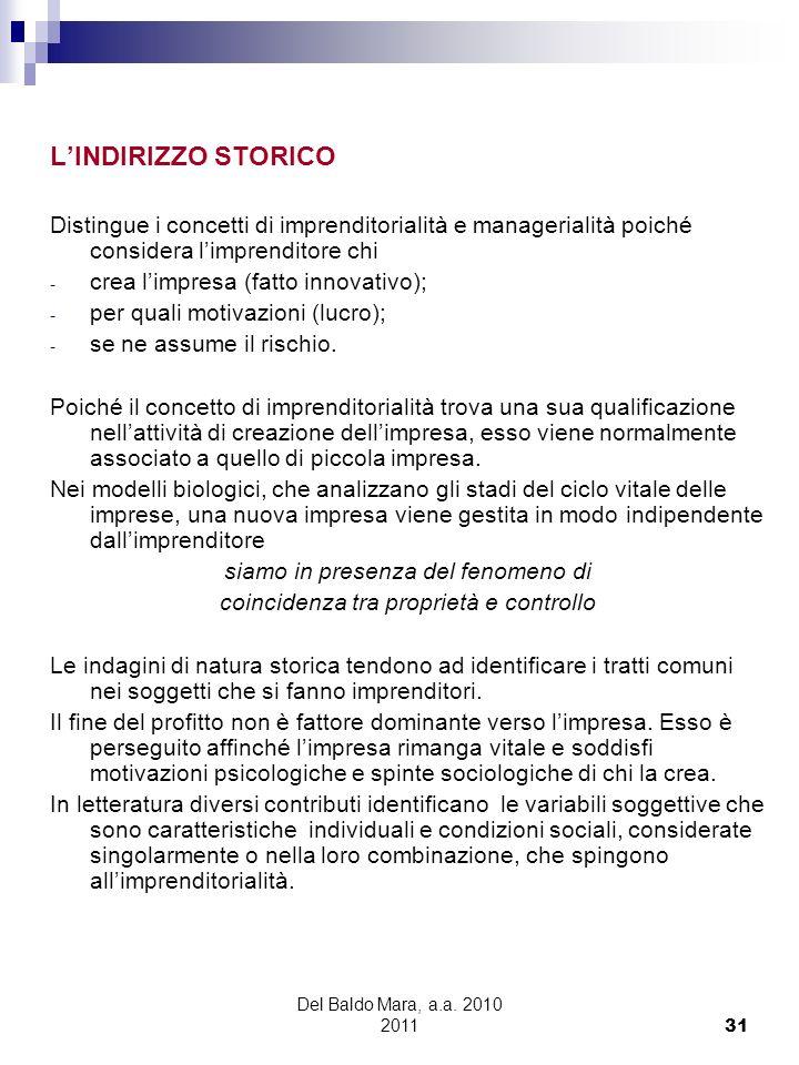 Del Baldo Mara, a.a. 2010 2011 31 LINDIRIZZO STORICO Distingue i concetti di imprenditorialità e managerialità poiché considera limprenditore chi - cr