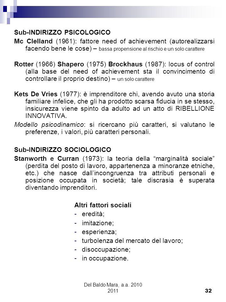 Del Baldo Mara, a.a. 2010 2011 32 Sub-INDIRIZZO PSICOLOGICO Mc Clelland (1961): fattore need of achievement (autorealizzarsi facendo bene le cose) – b