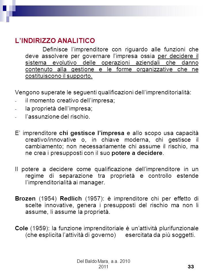 Del Baldo Mara, a.a. 2010 2011 33 LINDIRIZZO ANALITICO Definisce limprenditore con riguardo alle funzioni che deve assolvere per governare limpresa os