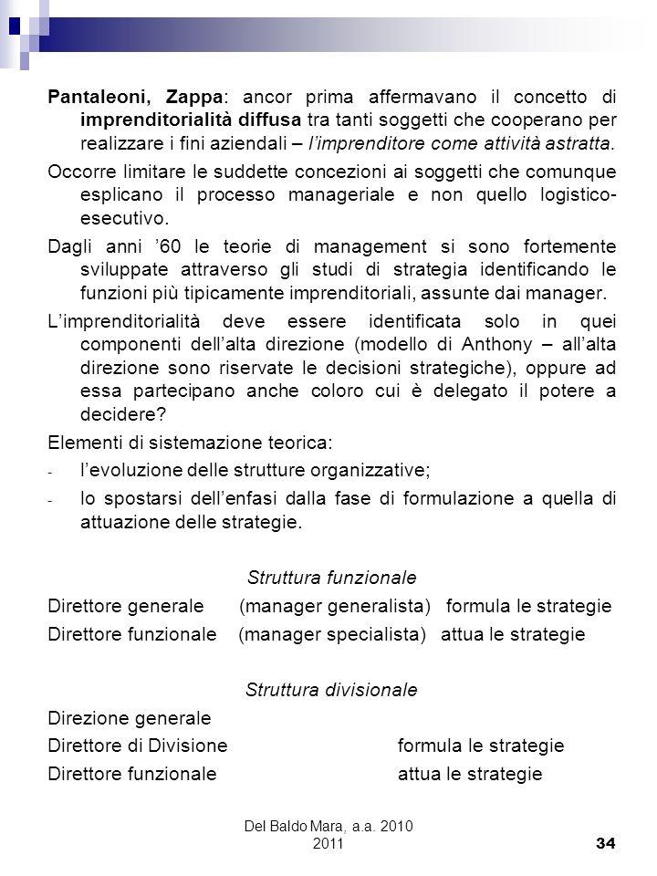 Del Baldo Mara, a.a. 2010 2011 34 Pantaleoni, Zappa: ancor prima affermavano il concetto di imprenditorialità diffusa tra tanti soggetti che cooperano