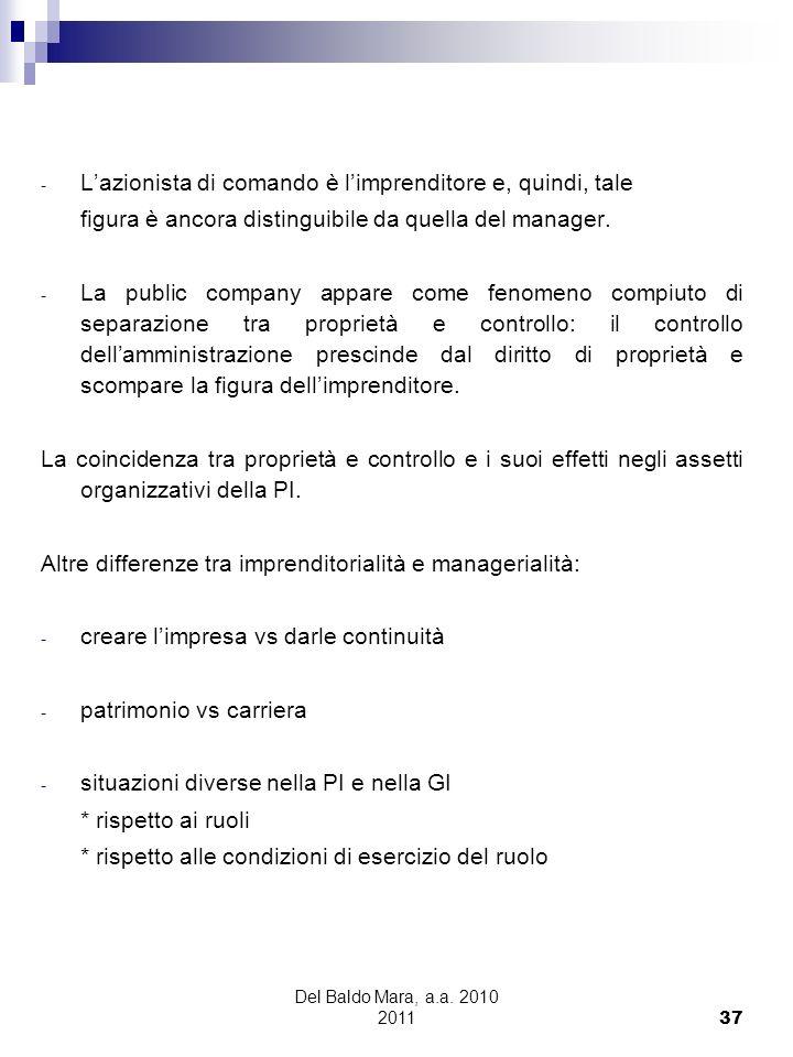 Del Baldo Mara, a.a. 2010 2011 37 - Lazionista di comando è limprenditore e, quindi, tale figura è ancora distinguibile da quella del manager. - La pu