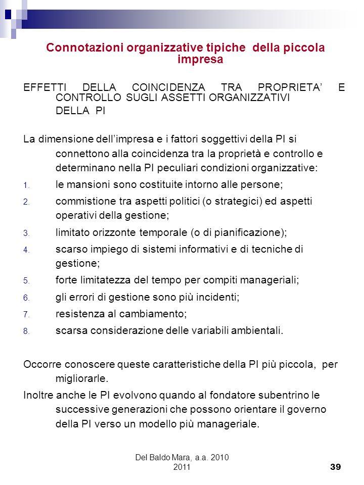 Del Baldo Mara, a.a. 2010 2011 39 Connotazioni organizzative tipiche della piccola impresa EFFETTI DELLA COINCIDENZA TRA PROPRIETA E CONTROLLO SUGLI A