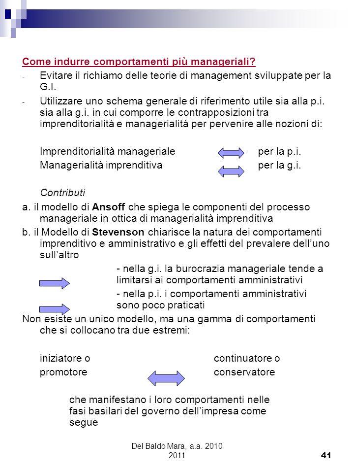 Del Baldo Mara, a.a. 2010 2011 41 Come indurre comportamenti più manageriali? - Evitare il richiamo delle teorie di management sviluppate per la G.I.