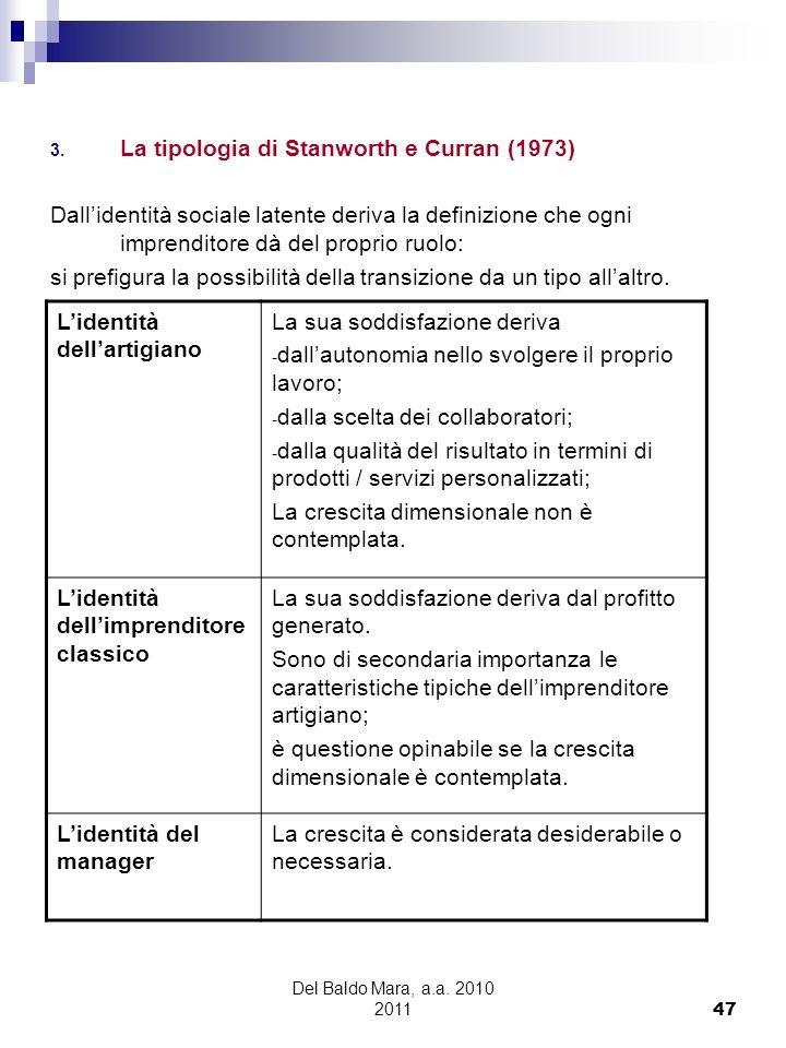 Del Baldo Mara, a.a. 2010 2011 47 3. La tipologia di Stanworth e Curran (1973) Dallidentità sociale latente deriva la definizione che ogni imprenditor