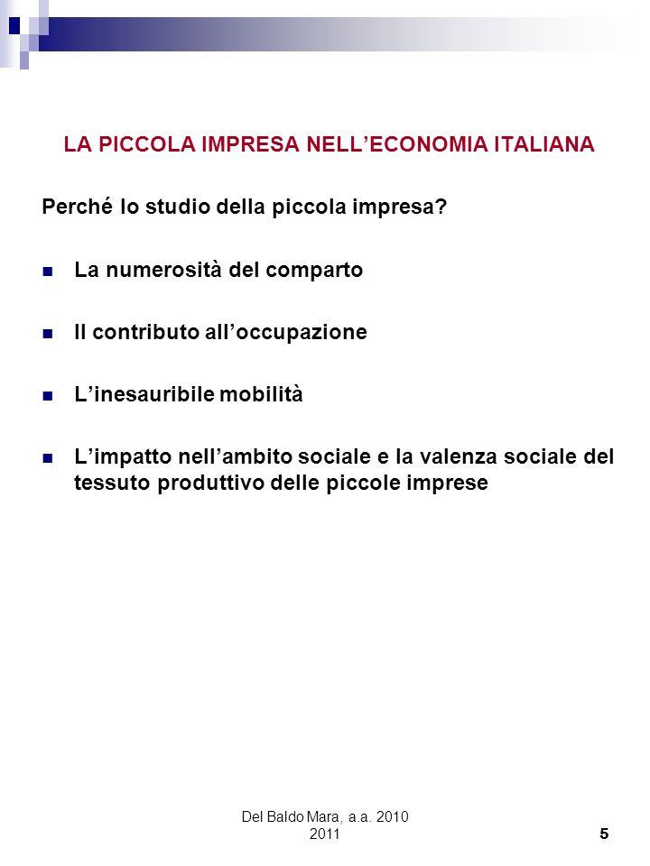 Del Baldo Mara, a.a. 2010 2011 5 LA PICCOLA IMPRESA NELLECONOMIA ITALIANA Perché lo studio della piccola impresa? La numerosità del comparto Il contri