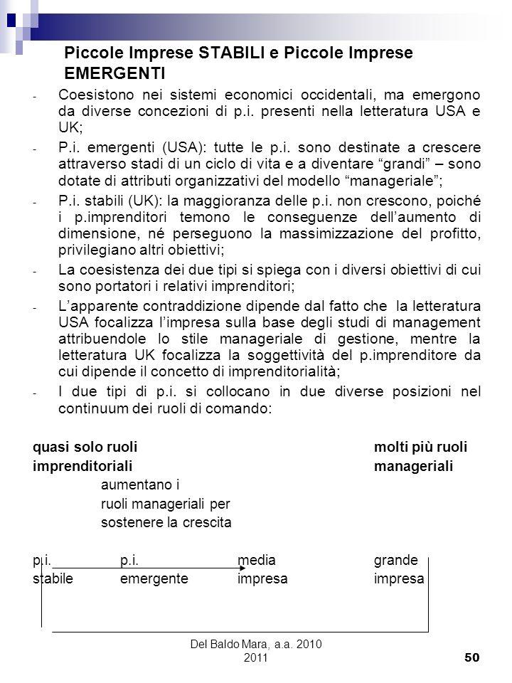 Del Baldo Mara, a.a. 2010 2011 50 Piccole Imprese STABILI e Piccole Imprese EMERGENTI - Coesistono nei sistemi economici occidentali, ma emergono da d