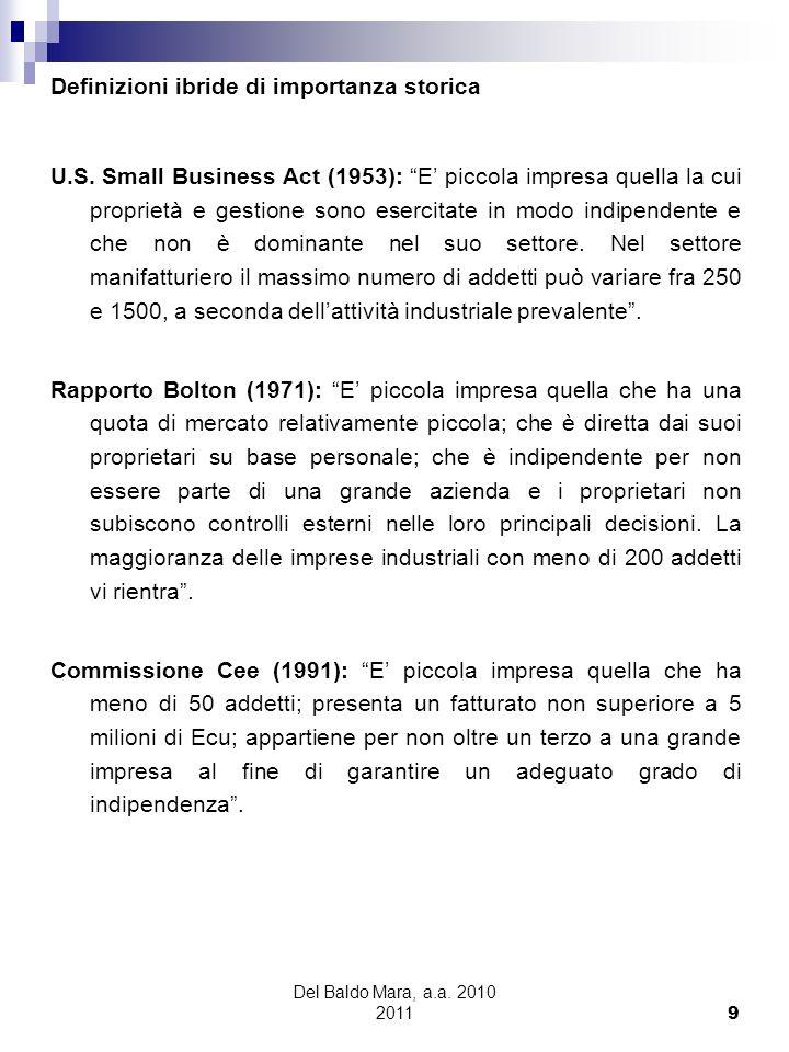 Del Baldo Mara, a.a. 2010 2011 9 Definizioni ibride di importanza storica U.S. Small Business Act (1953): E piccola impresa quella la cui proprietà e