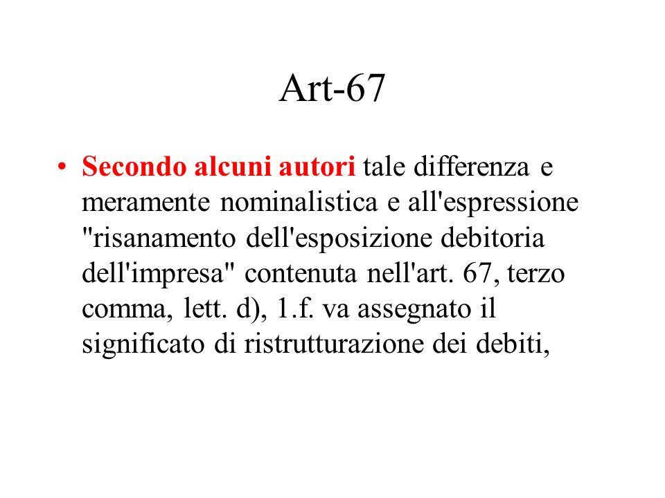Art-67 Secondo alcuni autori tale differenza e meramente nominalistica e all'espressione