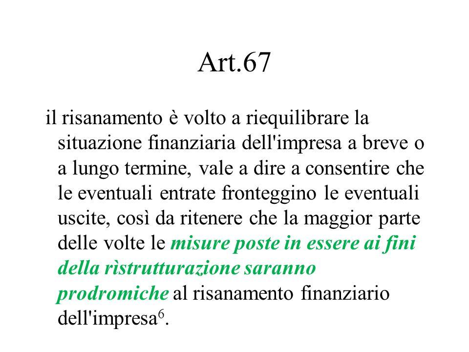 Art.67 il risanamento è volto a riequilibrare la situazione finanziaria dell'impresa a breve o a lungo termine, vale a dire a consentire che le eventu
