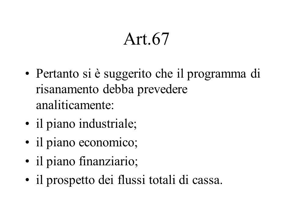 Art.67 Pertanto si è suggerito che il programma di risanamento debba prevedere analiticamente: il piano industriale; il piano economico; il piano fina