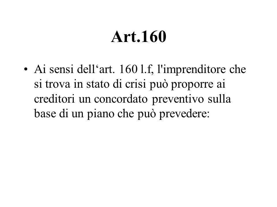 Art.160 Ai sensi dellart. 160 l.f, l'imprenditore che si trova in stato di crisi può proporre ai creditori un concordato preventivo sulla base di un p