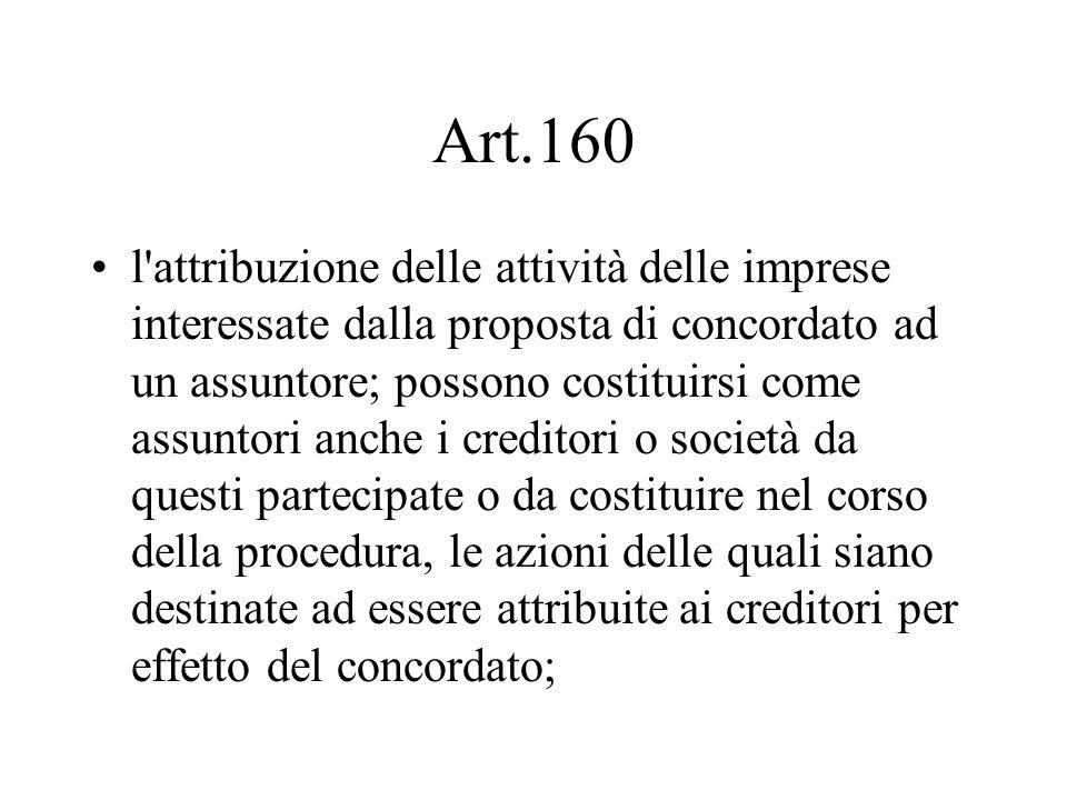 Art.160 l'attribuzione delle attività delle imprese interessate dalla proposta di concordato ad un assuntore; possono costituirsi come assuntori anche