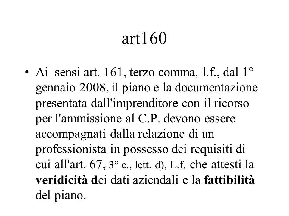 art160 Ai sensi art. 161, terzo comma, l.f., dal 1° gennaio 2008, il piano e la documentazione presentata dall'imprenditore con il ricorso per l'ammis