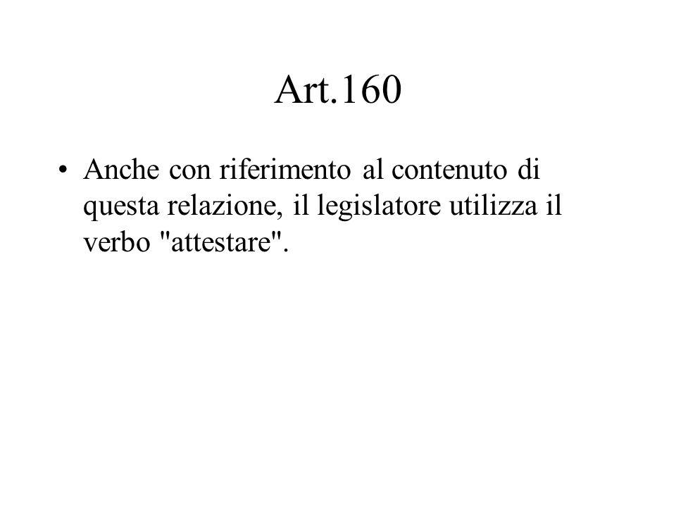Art.160 Anche con riferimento al contenuto di questa relazione, il legislatore utilizza il verbo