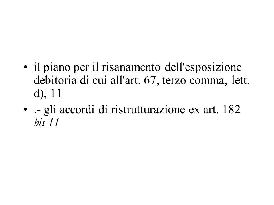 il piano per il risanamento dell'esposizione debitoria di cui all'art. 67, terzo comma, lett. d), 11.- gli accordi di ristrutturazione ex art. 182 bis