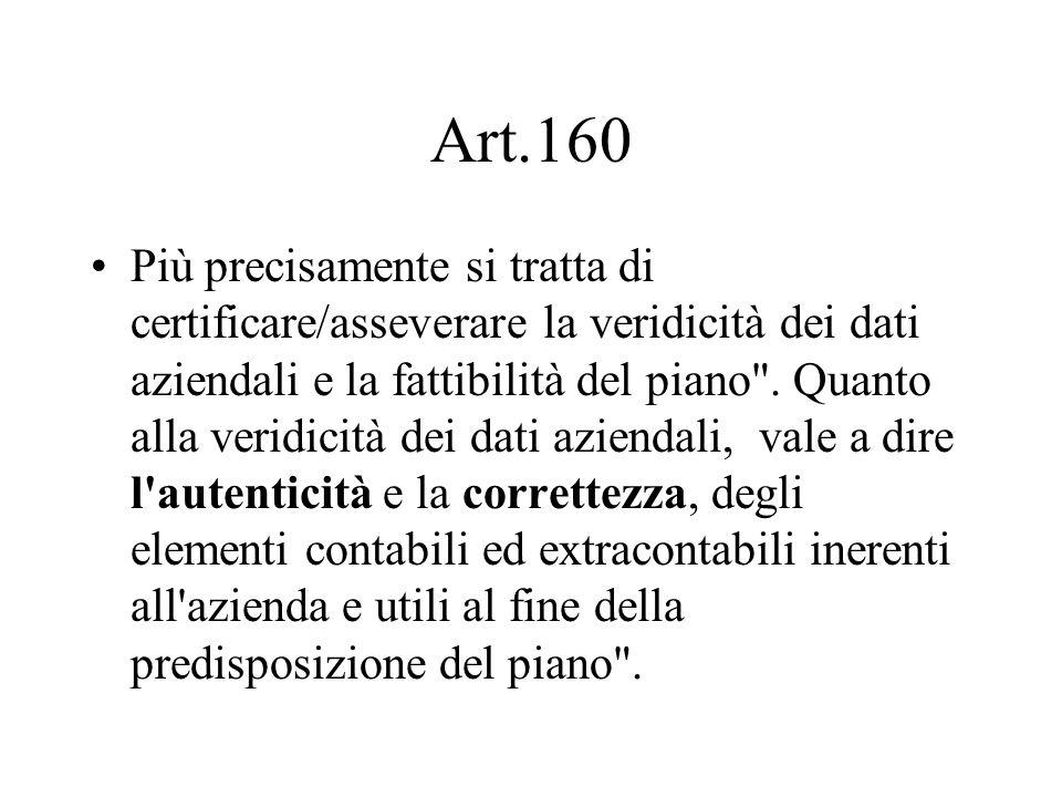 Art.160 Più precisamente si tratta di certificare/asseverare la veridicità dei dati aziendali e la fattibilità del piano