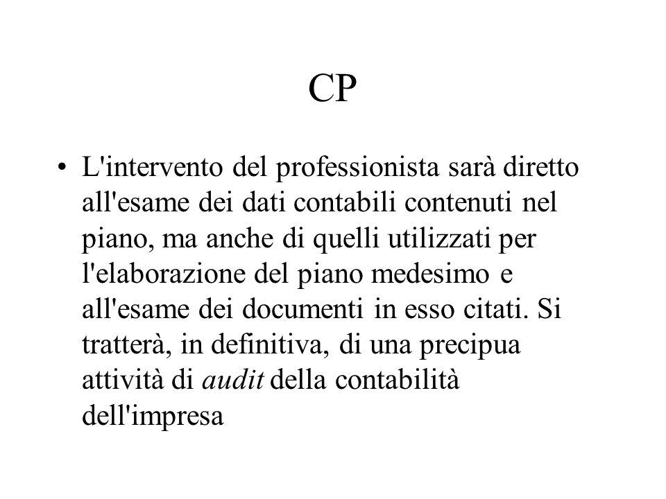 CP L'intervento del professionista sarà diretto all'esame dei dati contabili contenuti nel piano, ma anche di quelli utilizzati per l'elaborazione del