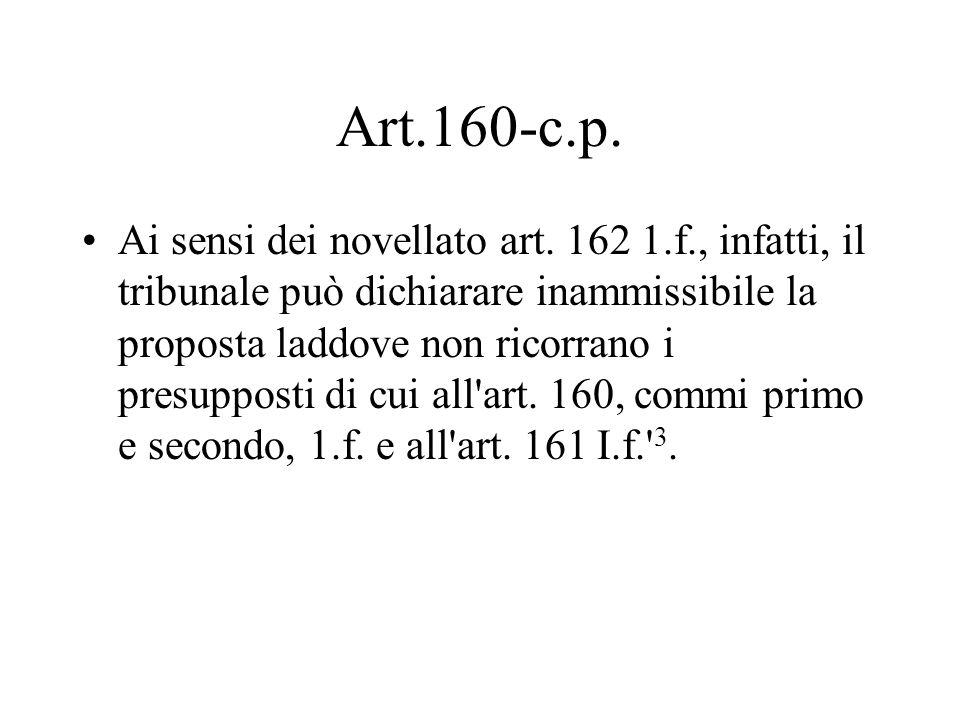 Art.160-c.p. Ai sensi dei novellato art. 162 1.f., infatti, il tribunale può dichiarare inammissibile la proposta laddove non ricorrano i presupposti
