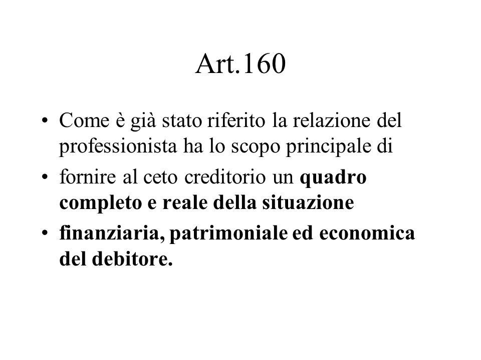 Art.160 Come è già stato riferito la relazione del professionista ha lo scopo principale di fornire al ceto creditorio un quadro completo e reale dell