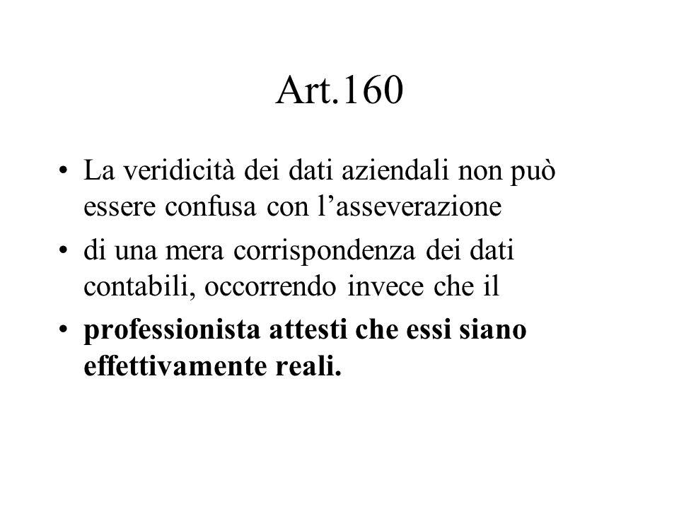 Art.160 La veridicità dei dati aziendali non può essere confusa con lasseverazione di una mera corrispondenza dei dati contabili, occorrendo invece ch