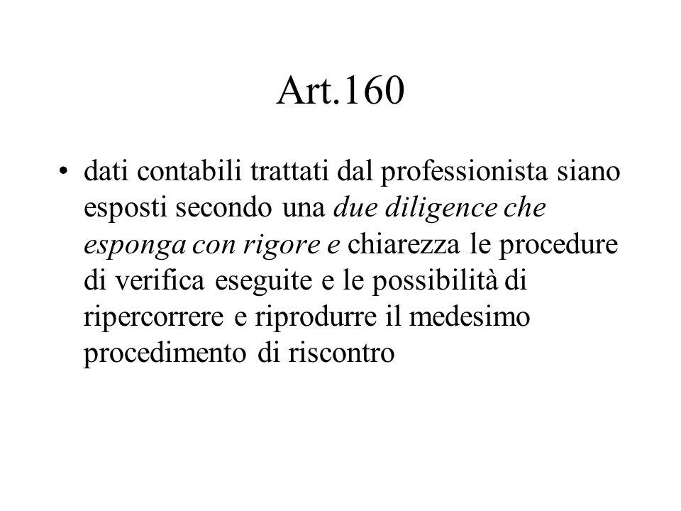 Art.160 dati contabili trattati dal professionista siano esposti secondo una due diligence che esponga con rigore e chiarezza le procedure di verifica