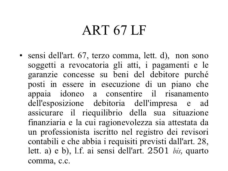 ART 67 LF sensi dell'art. 67, terzo comma, lett. d), non sono soggetti a revocatoria gli atti, i pagamenti e le garanzie concesse su beni del debitore