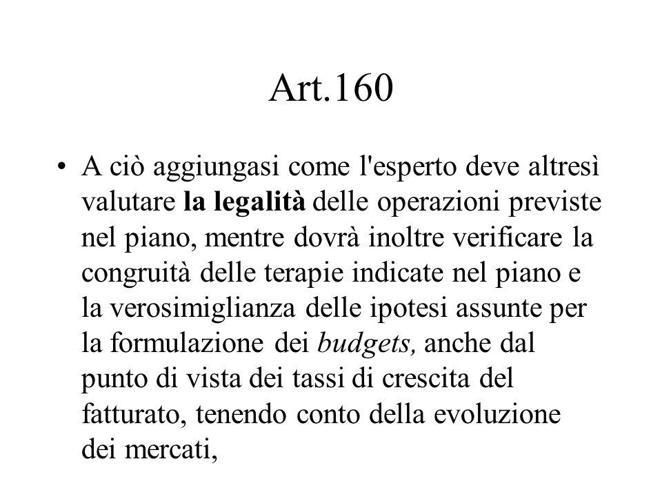 Art.160 A ciò aggiungasi come l'esperto deve altresì valutare la legalità delle operazioni previste nel piano, mentre dovrà inoltre verificare la cong