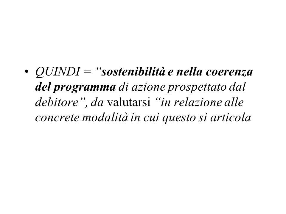 QUINDI = sostenibilità e nella coerenza del programma di azione prospettato dal debitore, da valutarsi in relazione alle concrete modalità in cui ques