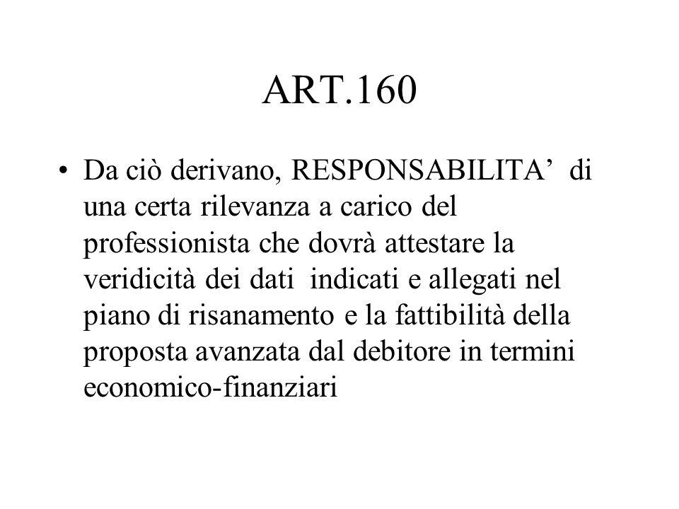 ART.160 Da ciò derivano, RESPONSABILITA di una certa rilevanza a carico del professionista che dovrà attestare la veridicità dei dati indicati e alleg