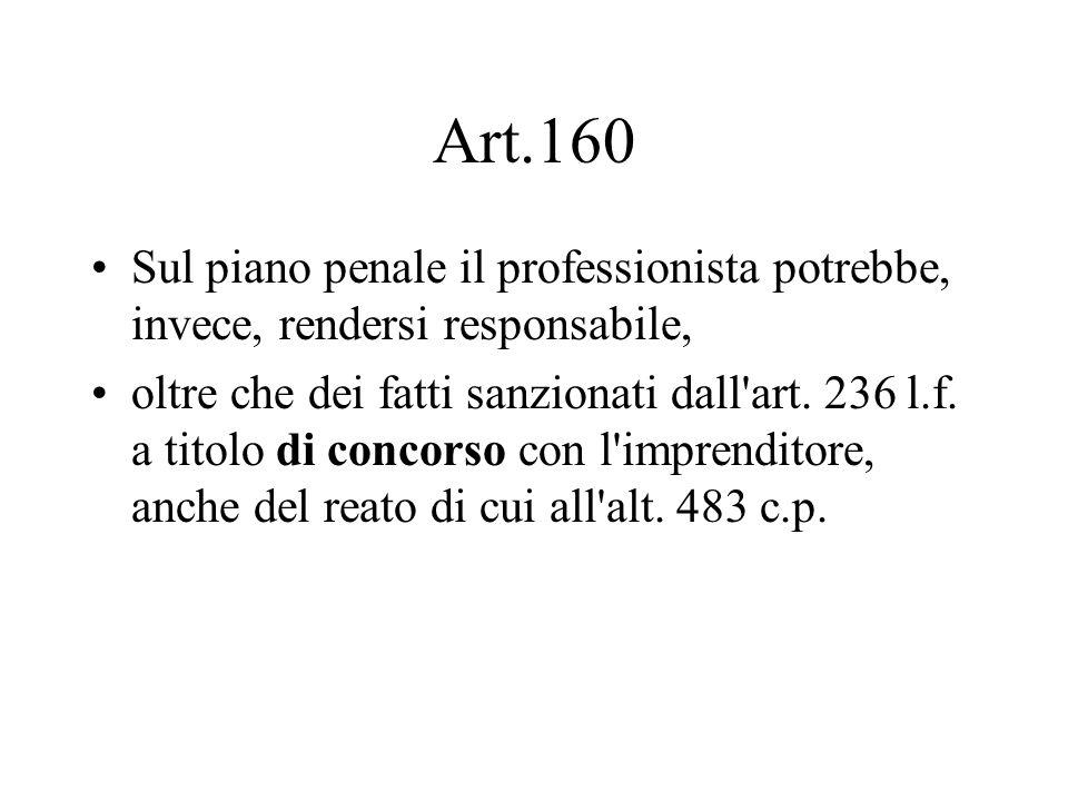 Art.160 Sul piano penale il professionista potrebbe, invece, rendersi responsabile, oltre che dei fatti sanzionati dall'art. 236 l.f. a titolo di conc