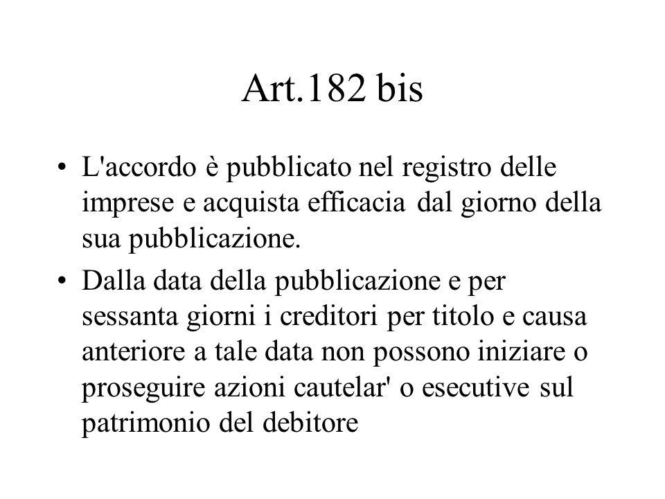 Art.182 bis L'accordo è pubblicato nel registro delle imprese e acquista efficacia dal giorno della sua pubblicazione. Dalla data della pubblicazione