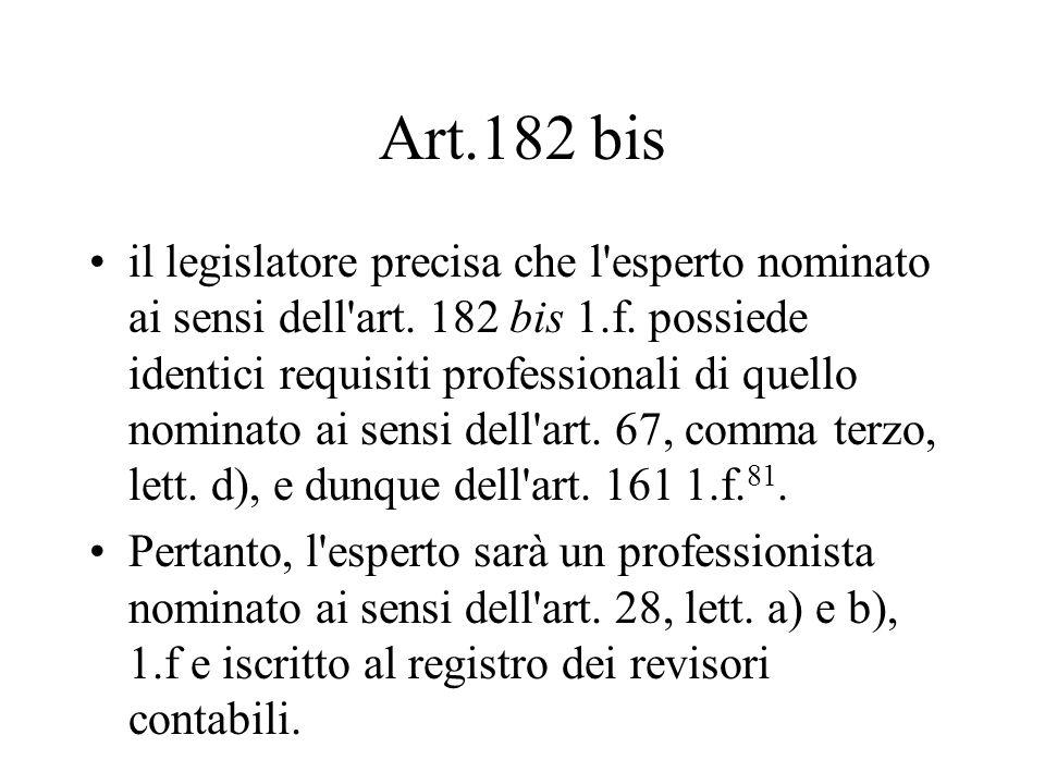 Art.182 bis il legislatore precisa che l'esperto nominato ai sensi dell'art. 182 bis 1.f. possiede identici requisiti professionali di quello nominato