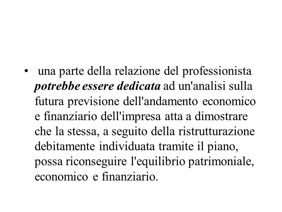 una parte della relazione del professionista potrebbe essere dedicata ad un'analisi sulla futura previsione dell'andamento economico e finanziario del