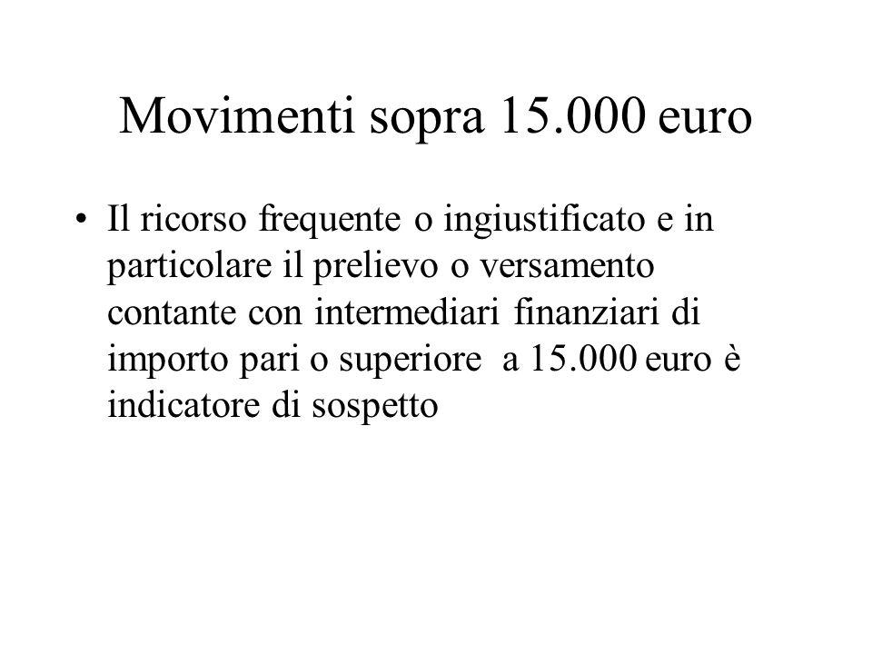 Movimenti sopra 15.000 euro Il ricorso frequente o ingiustificato e in particolare il prelievo o versamento contante con intermediari finanziari di im