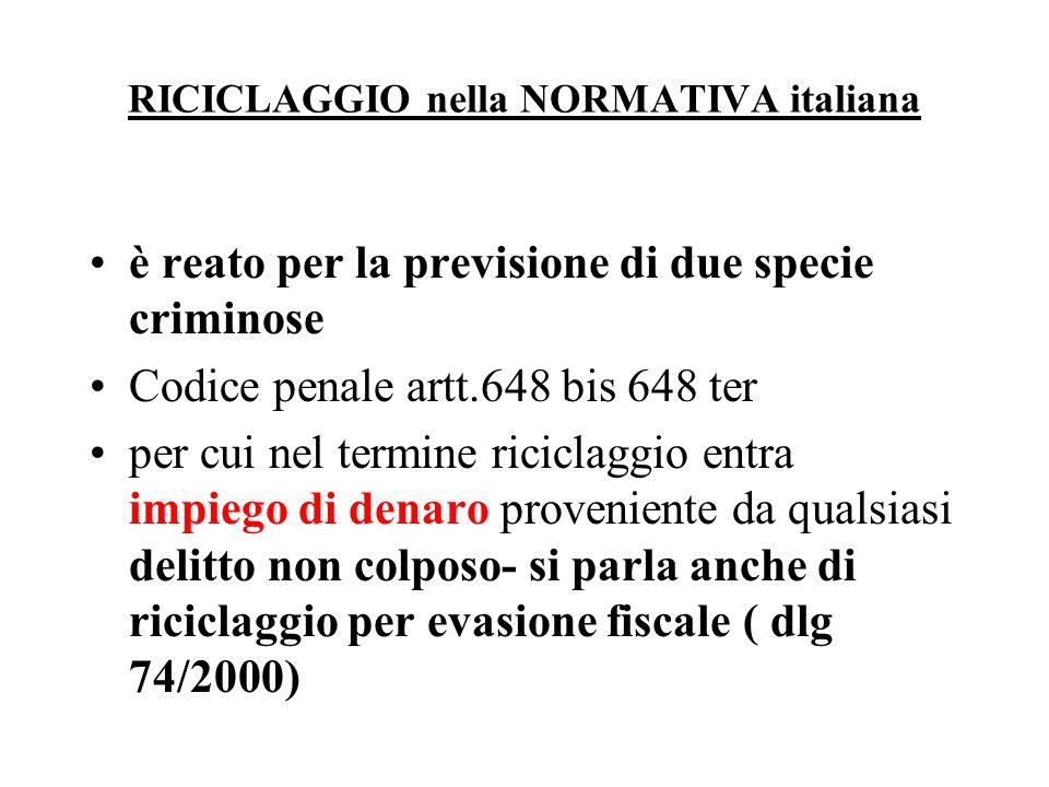 RICICLAGGIO nella NORMATIVA italiana è reato per la previsione di due specie criminose Codice penale artt.648 bis 648 ter per cui nel termine riciclag
