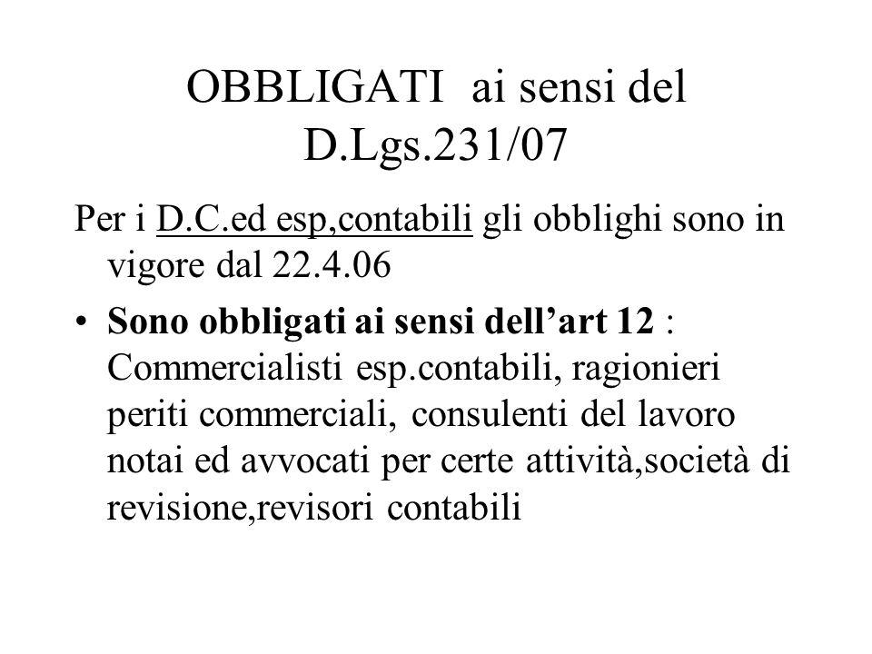 OBBLIGATI ai sensi del D.Lgs.231/07 Per i D.C.ed esp,contabili gli obblighi sono in vigore dal 22.4.06 Sono obbligati ai sensi dellart 12 : Commercial