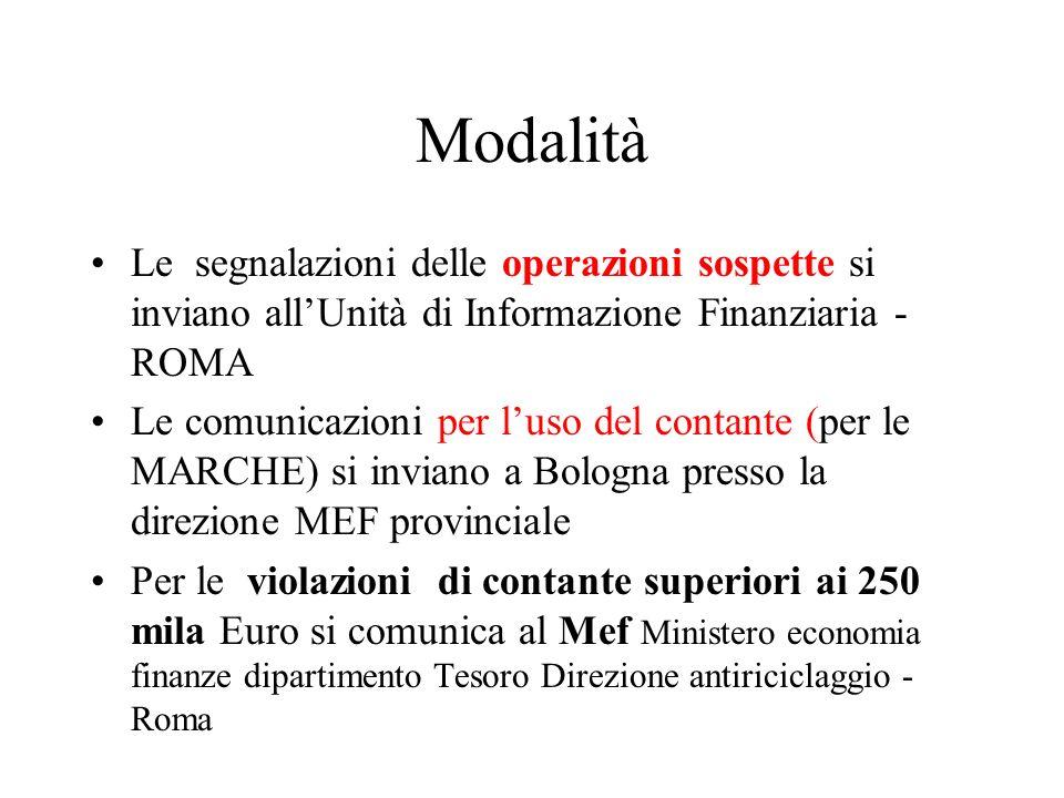 Modalità Le segnalazioni delle operazioni sospette si inviano allUnità di Informazione Finanziaria - ROMA Le comunicazioni per luso del contante (per