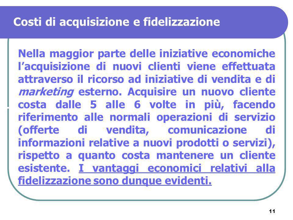11 Costi di acquisizione e fidelizzazione Nella maggior parte delle iniziative economiche lacquisizione di nuovi clienti viene effettuata attraverso i