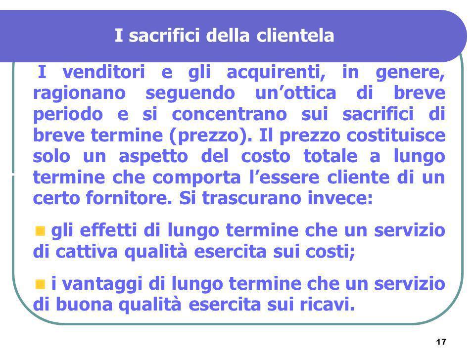 17 I sacrifici della clientela I venditori e gli acquirenti, in genere, ragionano seguendo unottica di breve periodo e si concentrano sui sacrifici di
