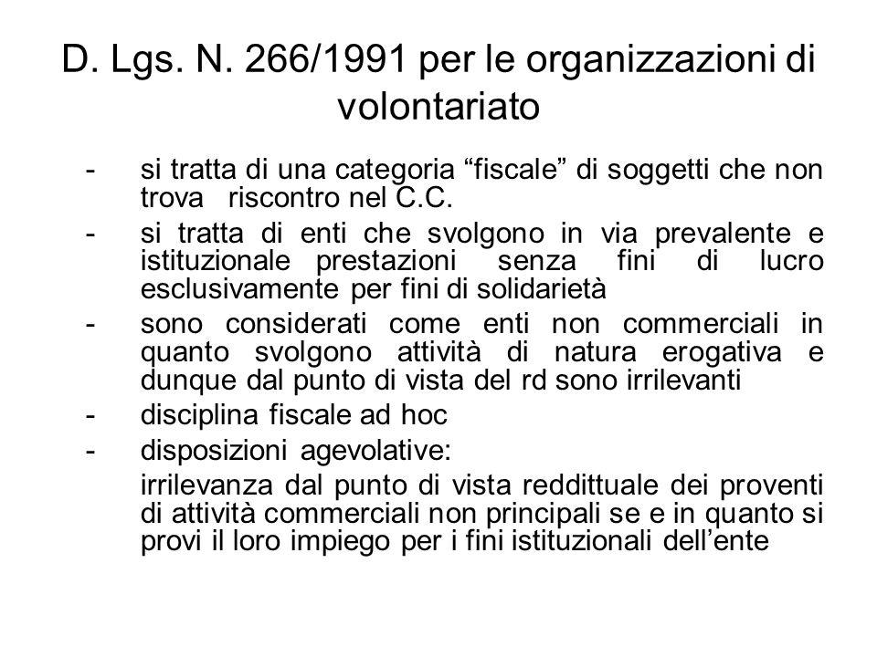 D. Lgs. N. 266/1991 per le organizzazioni di volontariato -si tratta di una categoria fiscale di soggetti che non trova riscontro nel C.C. - si tratta