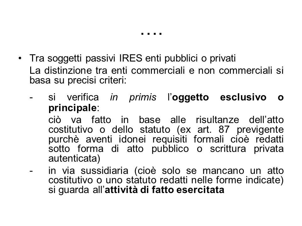 …. Tra soggetti passivi IRES enti pubblici o privati La distinzione tra enti commerciali e non commerciali si basa su precisi criteri: - si verifica i