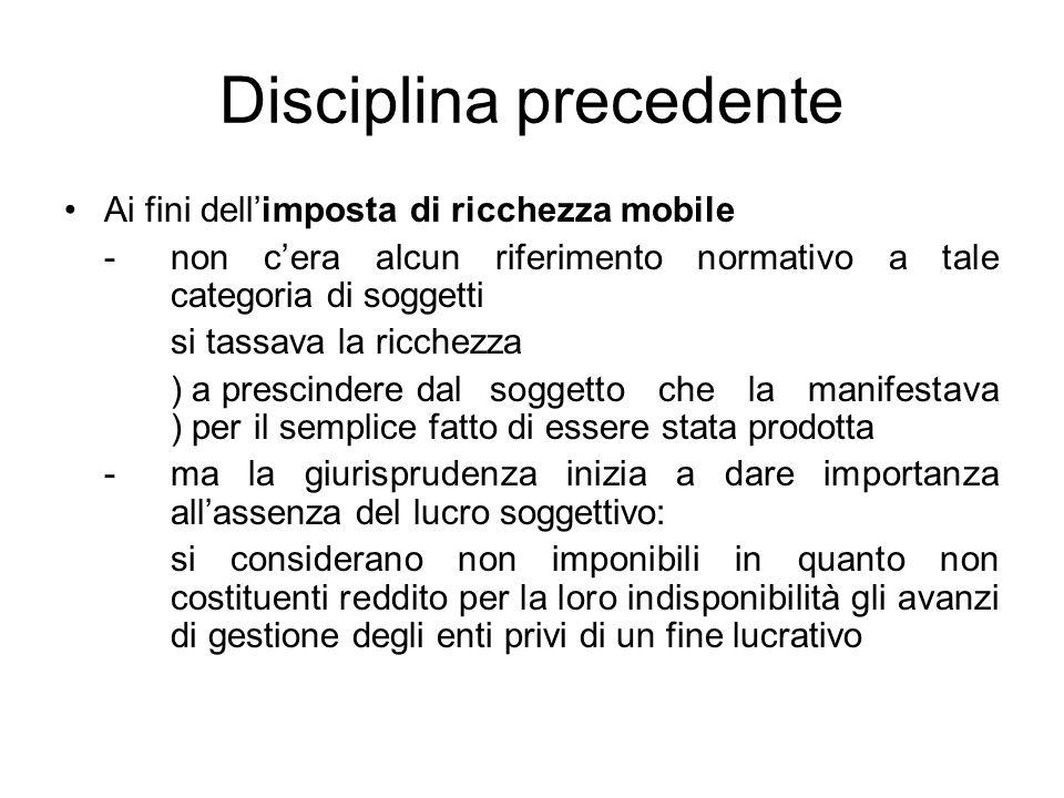 Disciplina precedente Ai fini dellimposta di ricchezza mobile -non cera alcun riferimento normativo a tale categoria di soggetti si tassava la ricchez